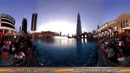 VR全景视频:迪拜喷泉、迪拜塔和迪拜摩天大楼
